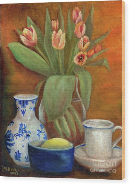 Delft Vase And Mini Tulips Wood Print