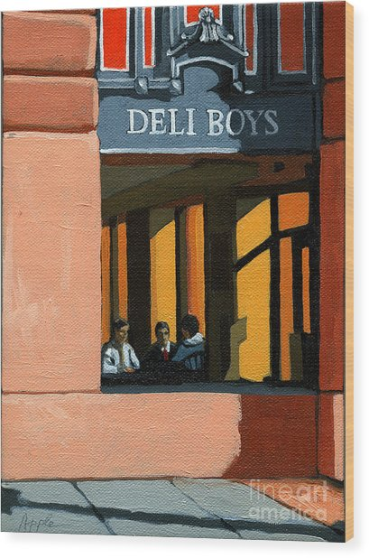 Deli Boys - Cafe Wood Print by Linda Apple