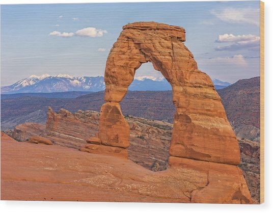 Delicate Arch At Sunset Wood Print