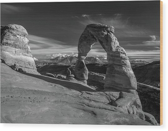 Delicate Arch Utah In Black And White Wood Print