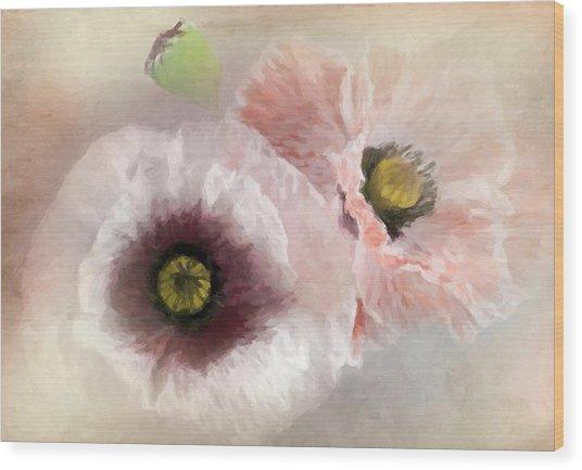 Delicate Pastel Poppies Wood Print