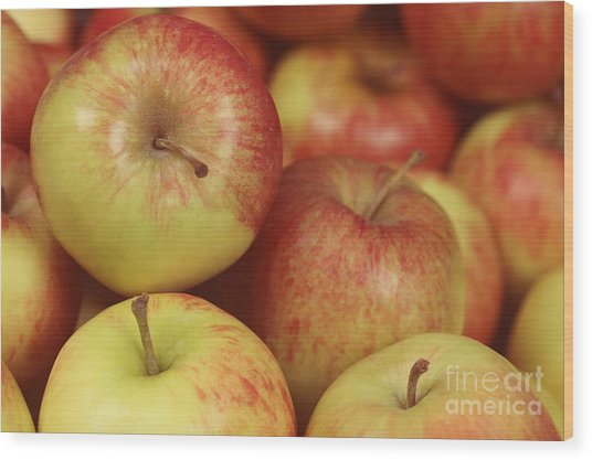 Delicious Apple Fruit Background Wood Print
