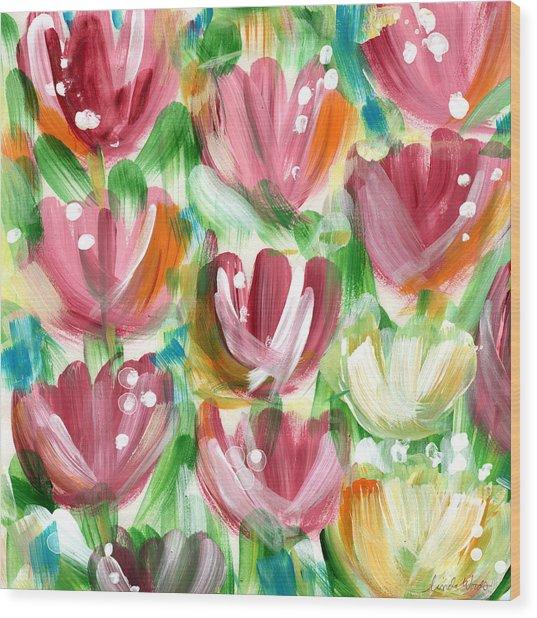 Delightful Tulip Garden Wood Print