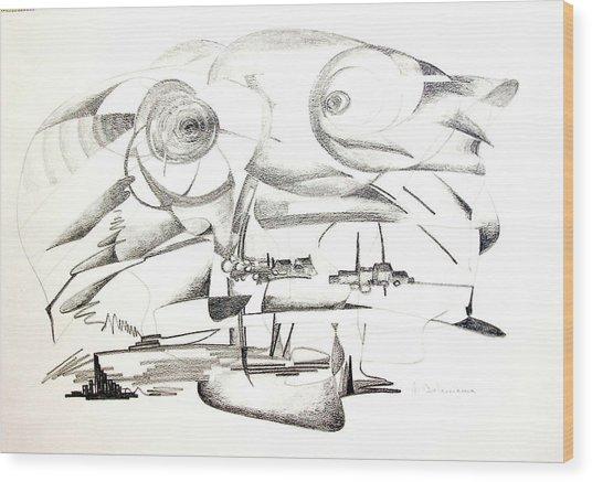 Delire Wood Print by Muriel Dolemieux
