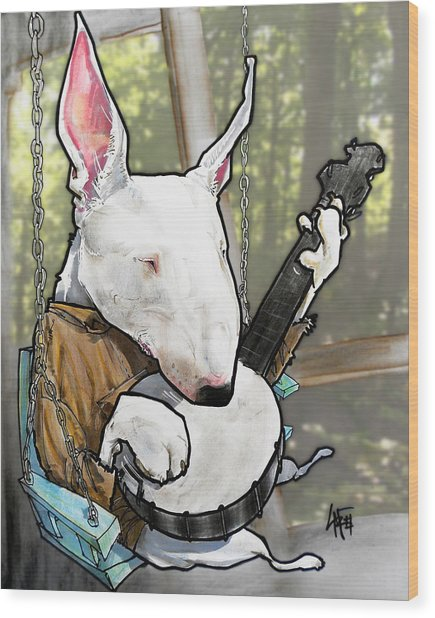 Deliverance Bull Terrier Caricature Art Print Wood Print