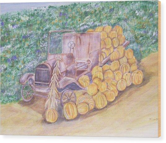 Delivering The Pumpkins Wood Print