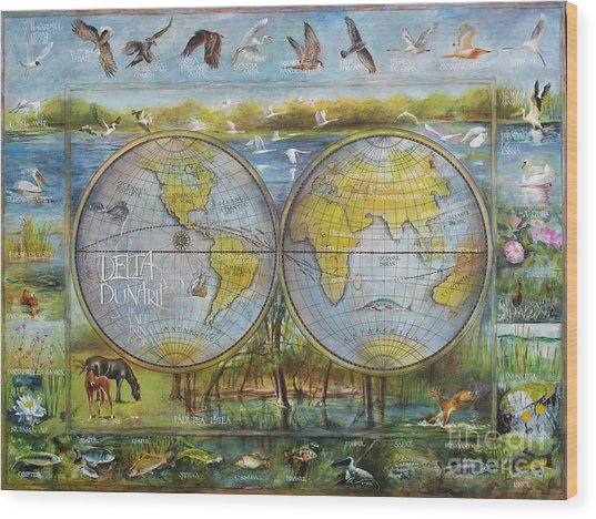 Danube Delta  Map.delta Map Painted On Leather. Original Map.one Of A Kind Map. Wood Print