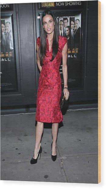 Demi Moore  Wearing A Zac Posen Dress Wood Print by Everett