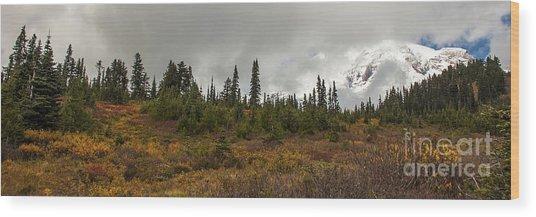 Mt. Rainier - Head In The Clouds Wood Print