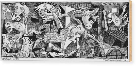 Democrat Guernica Wood Print