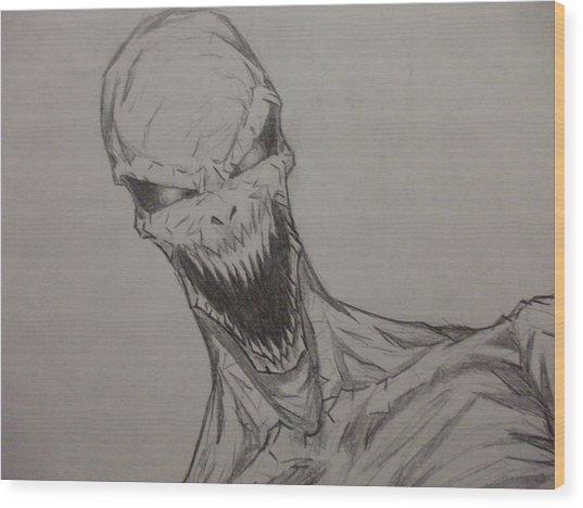 Demon Zombie Wood Print by John Prestipino