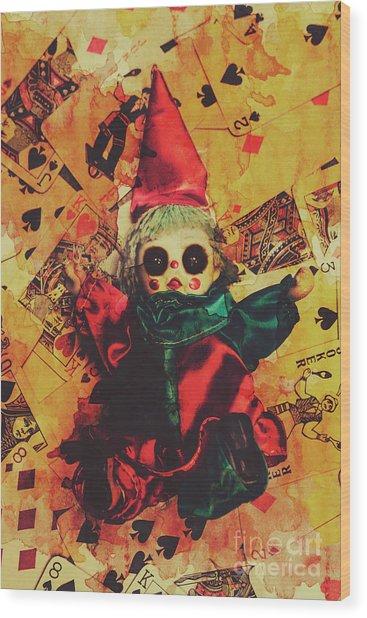 Demonic Possessed Joker Doll Wood Print