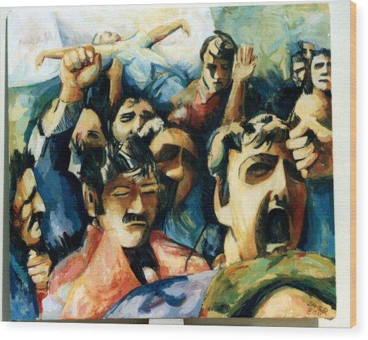 Demonstration - Art In Lebanon Wood Print by Zaher Bizri