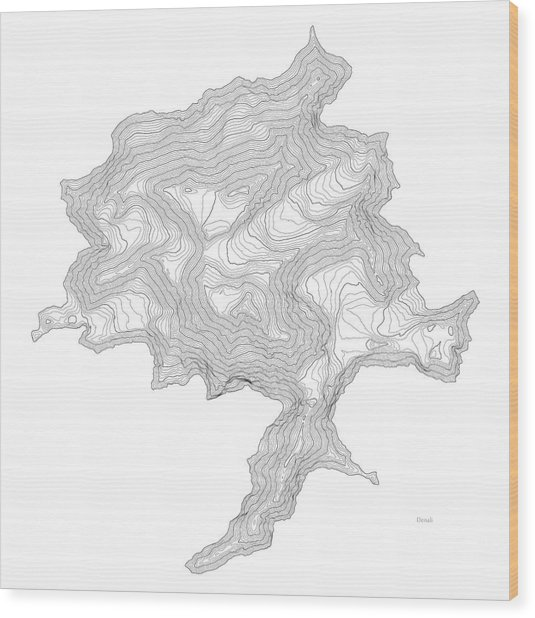 Denali Art Print Contour Map Of Denali In Alaska Wood Print