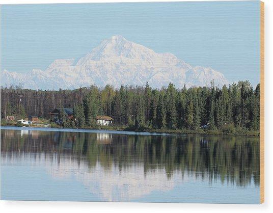 Denali From Kashwitna Lake Wood Print