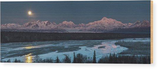 Denali Morning Blue Wood Print
