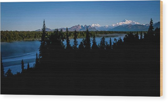 Denali Over The Susitna River Wood Print