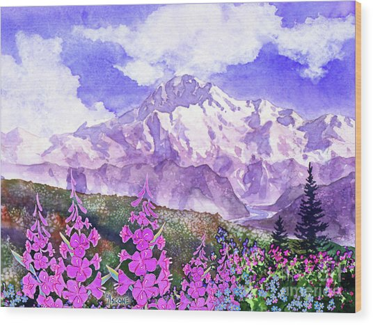 Denali With Fireweed Wood Print