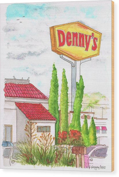 Denny's Coffee Shop In Barstow, California Wood Print