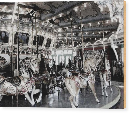 Dentzel Menagerie Carousel - Glen Echo Park Maryland Wood Print by Fareeha Khawaja