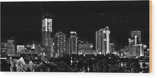Denver At Night In Black And White Wood Print