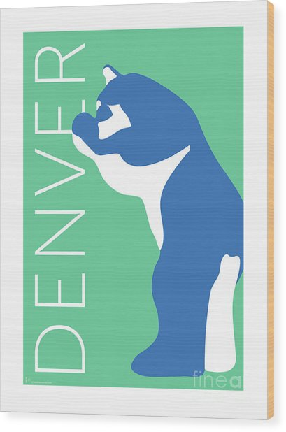Denver Blue Bear/aqua Wood Print