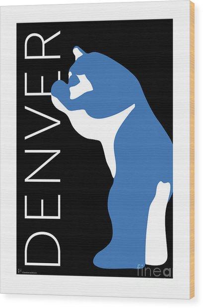 Denver Blue Bear/black Wood Print
