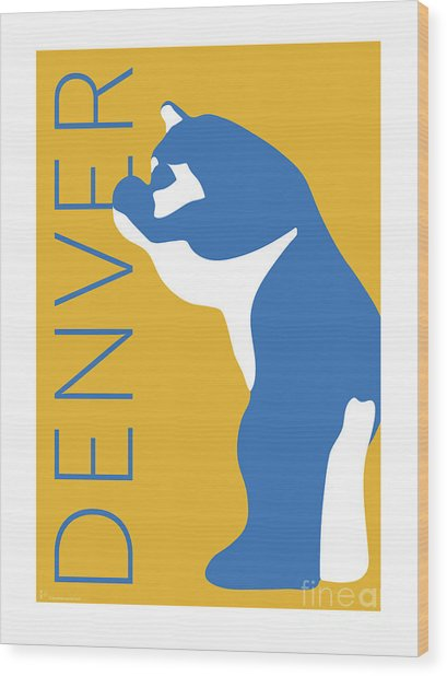 Denver Blue Bear/gold Wood Print