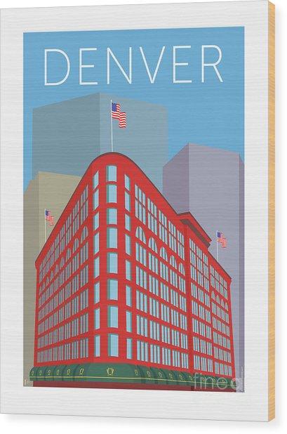 Denver Brown Palace/blue Wood Print