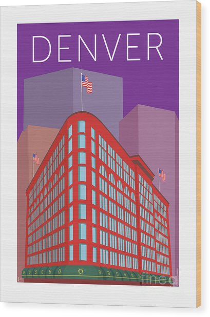 Denver Brown Palace/purple Wood Print