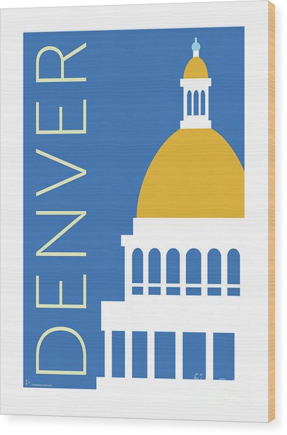 Denver Capitol/blue Wood Print