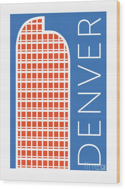 Denver Cash Register Bldg/blue Wood Print