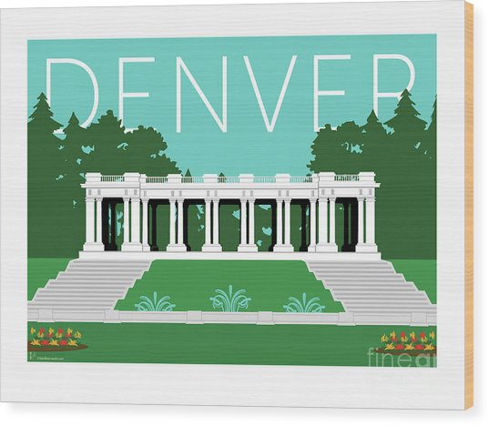 Denver Cheesman Park/lt Blue Wood Print