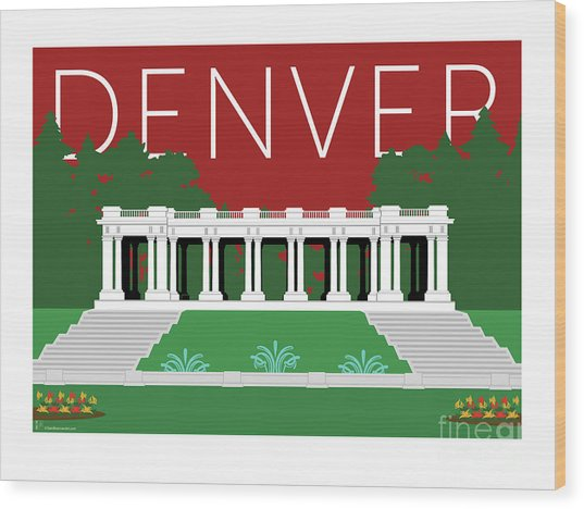 Denver Cheesman Park/maroon Wood Print