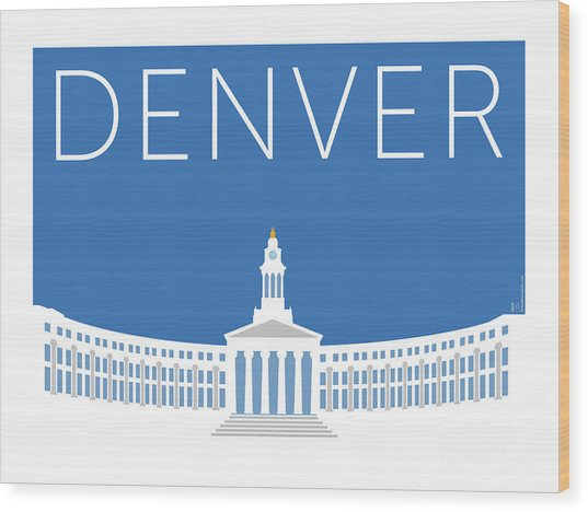 Denver City And County Bldg/blue Wood Print