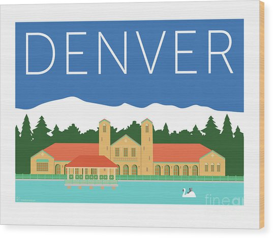 Denver City Park/blue Wood Print