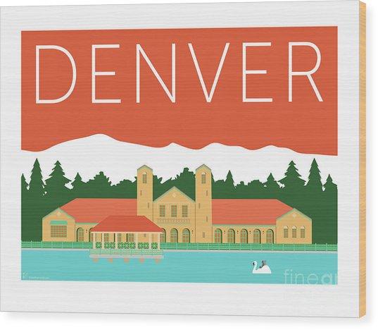 Denver City Park/coral Wood Print