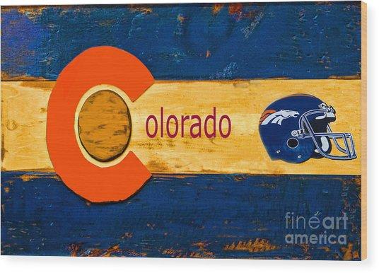 Denver Colorado Broncos 1 Wood Print