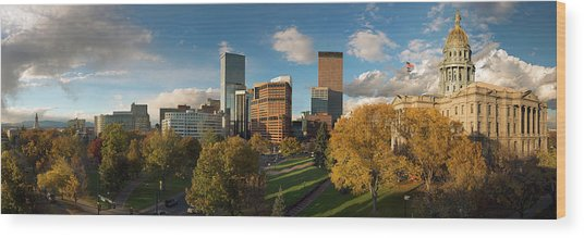 Denver, Colorado, Capitol Skyline Panoramic Wood Print by Steve Mohlenkamp