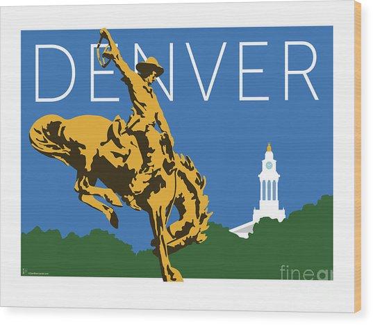Denver Cowboy/dark Blue Wood Print