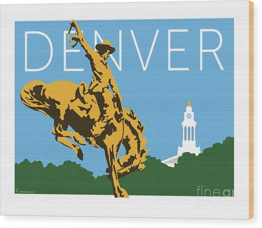 Denver Cowboy/sky Blue Wood Print