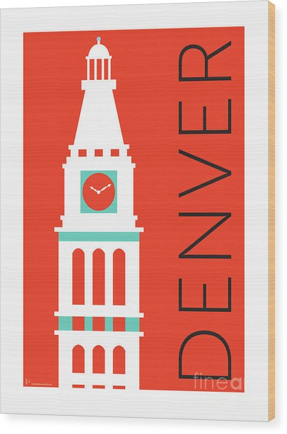 Denver D And F Tower/orange Wood Print