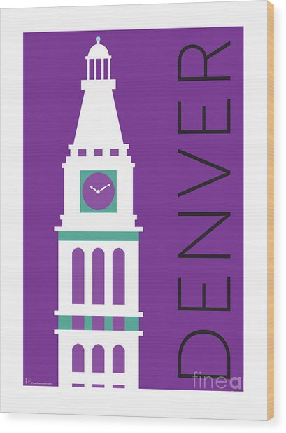 Denver D And F Tower/purple Wood Print