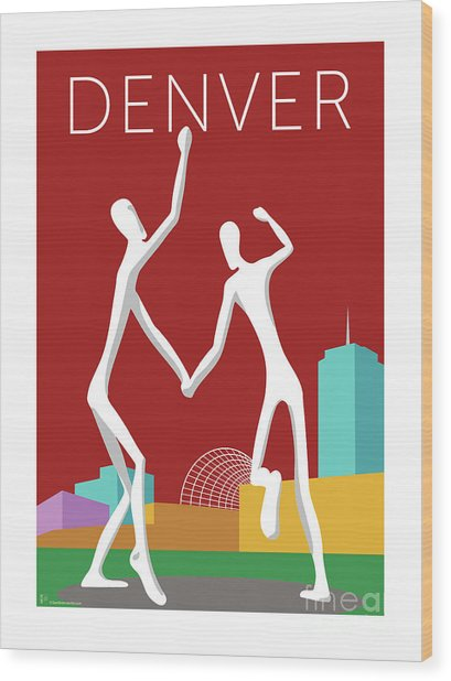 Denver Dancers/maroon Wood Print