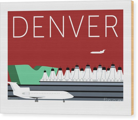 Denver Dia/maroon Wood Print