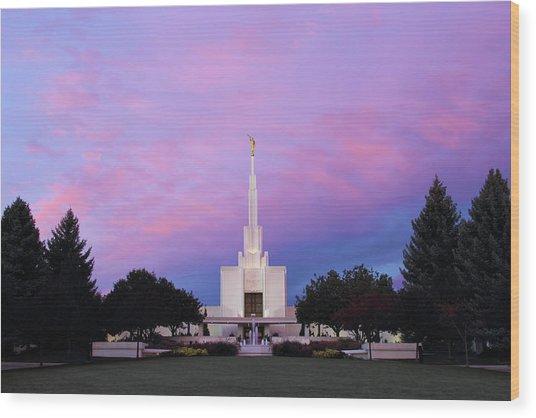 Denver Lds Temple At Sunrise Wood Print