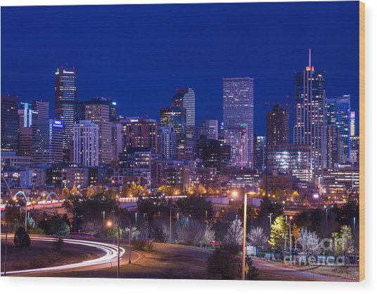 Denver Skyline At Night - Colorado Wood Print