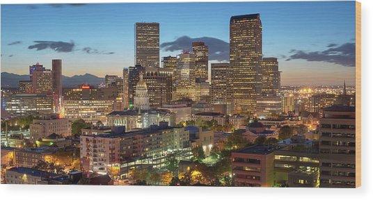 Denver Skyline Evening Panoramic Wood Print by Steve Mohlenkamp