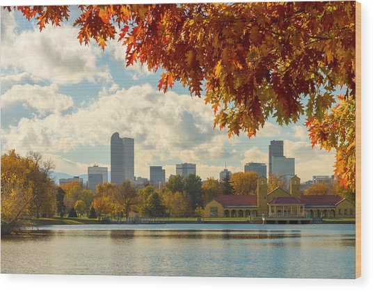Denver Skyline Fall Foliage View Wood Print