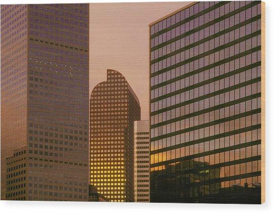 Denver Skyline Of Glass Wood Print by Steve Mohlenkamp